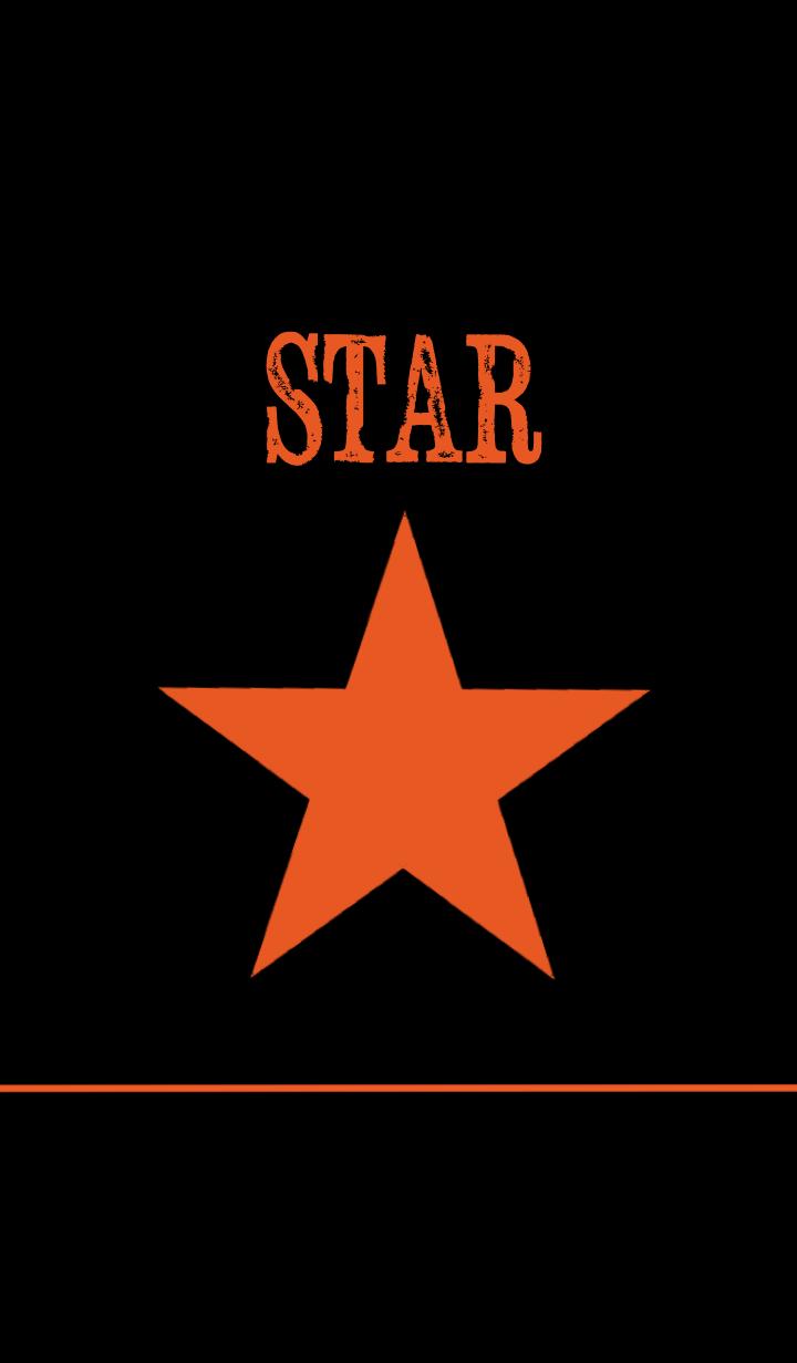 ธีมไลน์ -STAR black_orange ver.-