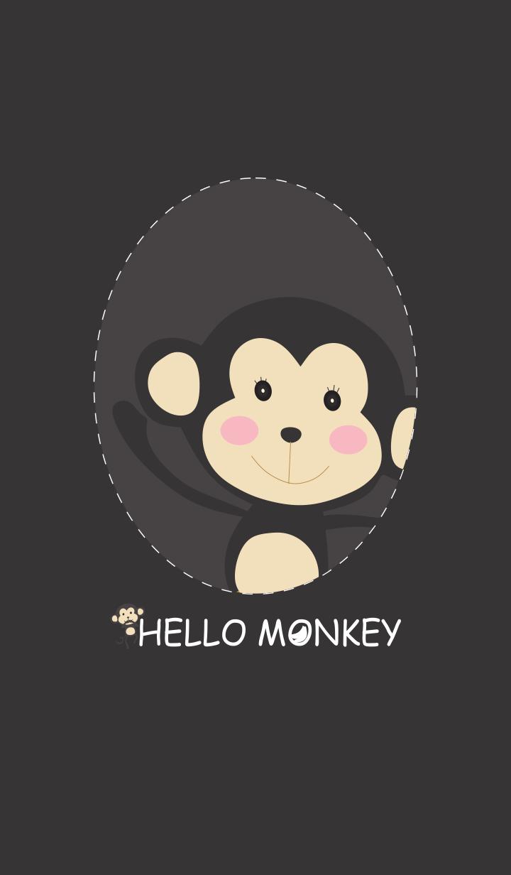 ธีมไลน์ ลิงสีดำ Simple Hello