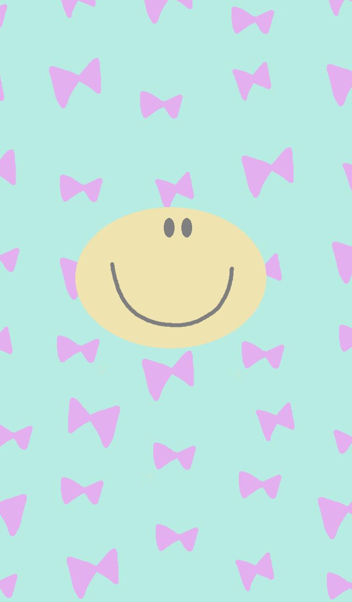 ธีมไลน์ (pastel blue ribbon x smile niko )
