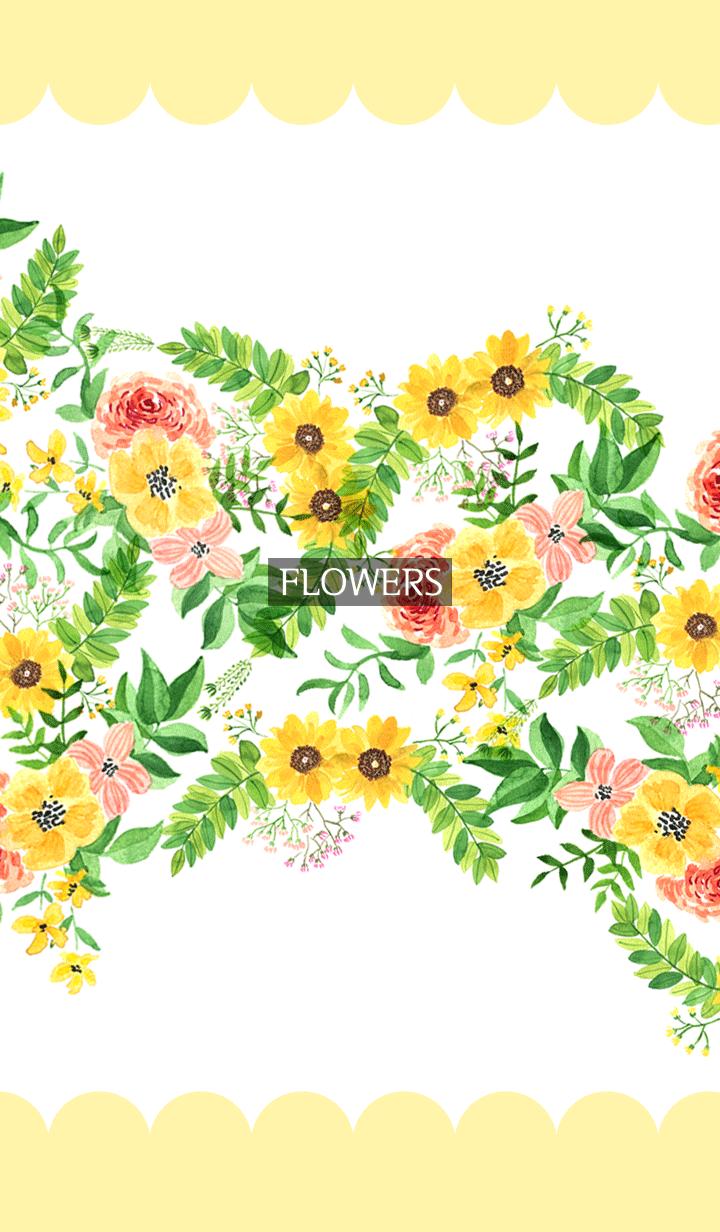 ธีมไลน์ water color flowers_327