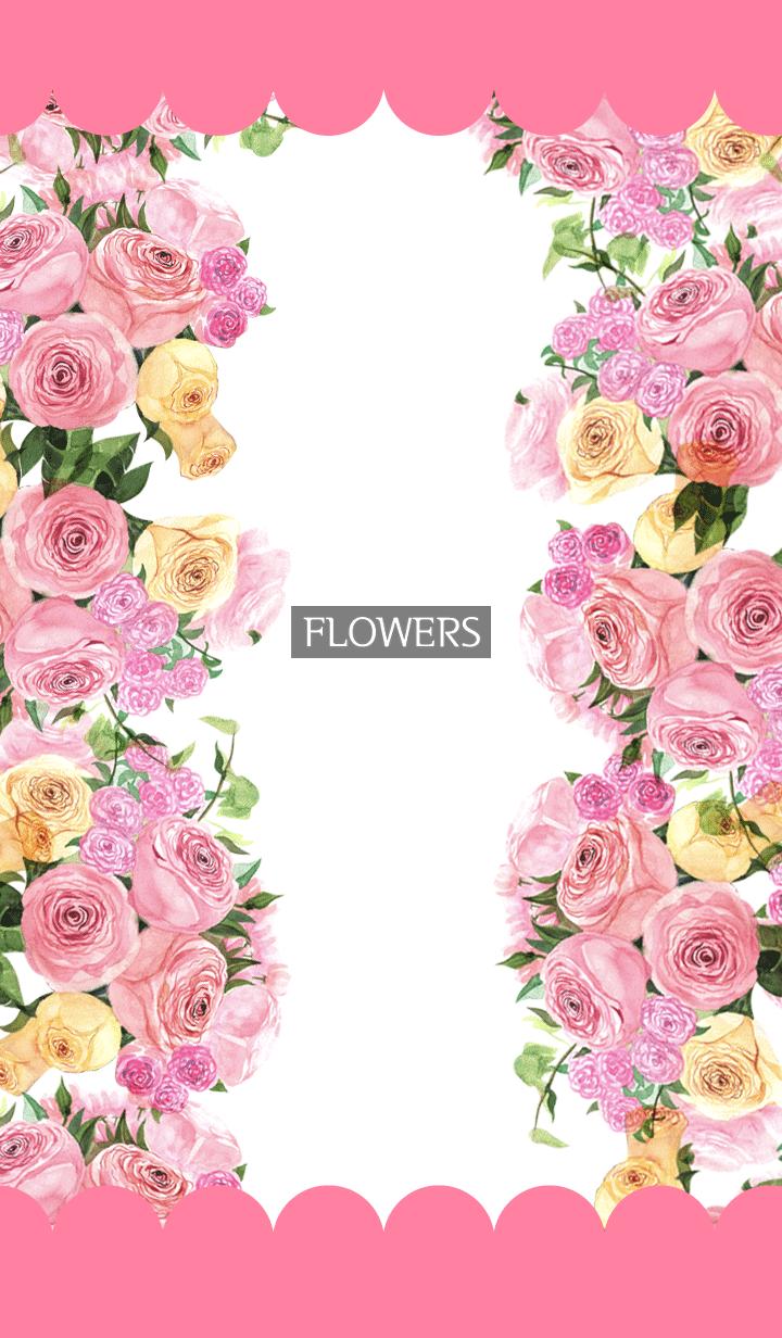 ธีมไลน์ water color flowers_321