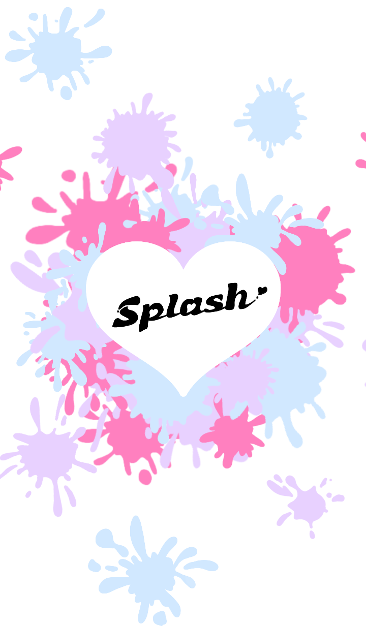 ธีมไลน์ Splash Heart White Ver.2
