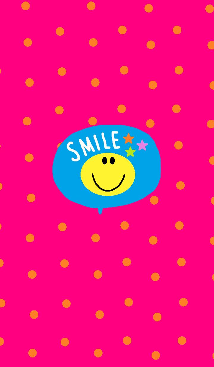 ธีมไลน์ Hot pink dot x smile niko