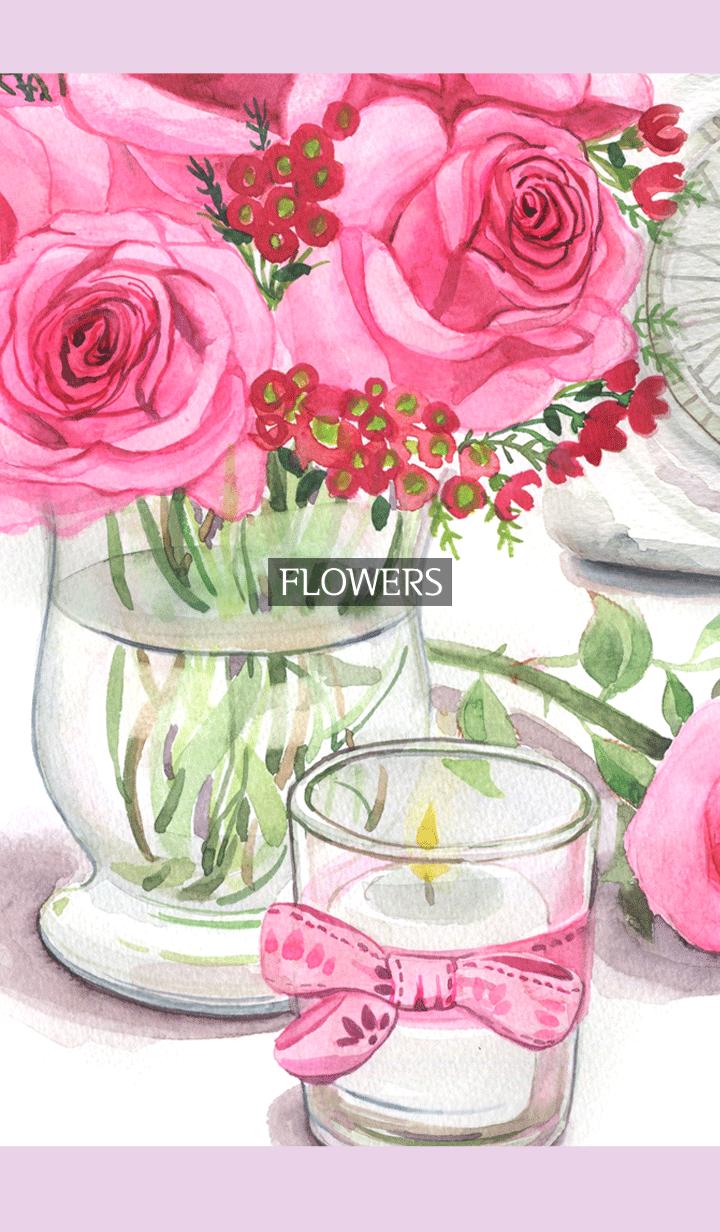 ธีมไลน์ water color flowers_309