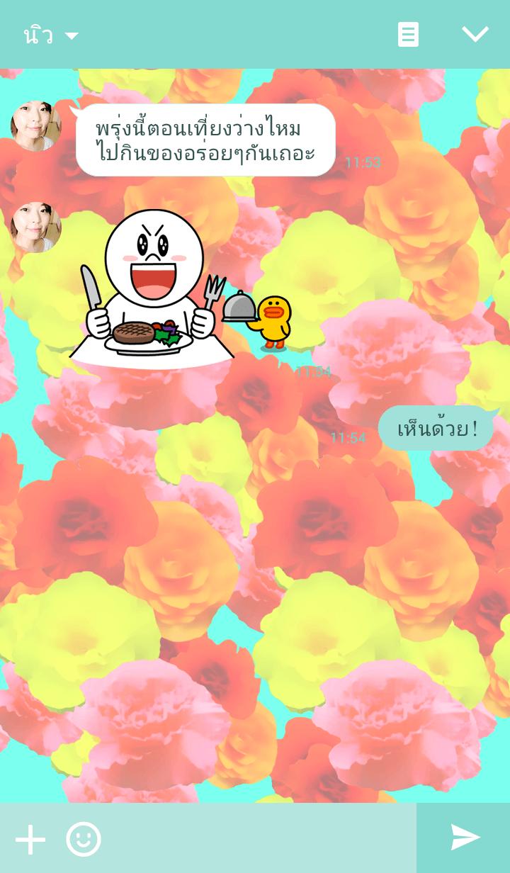 ธีมไลน์ Flower Power,Begonia