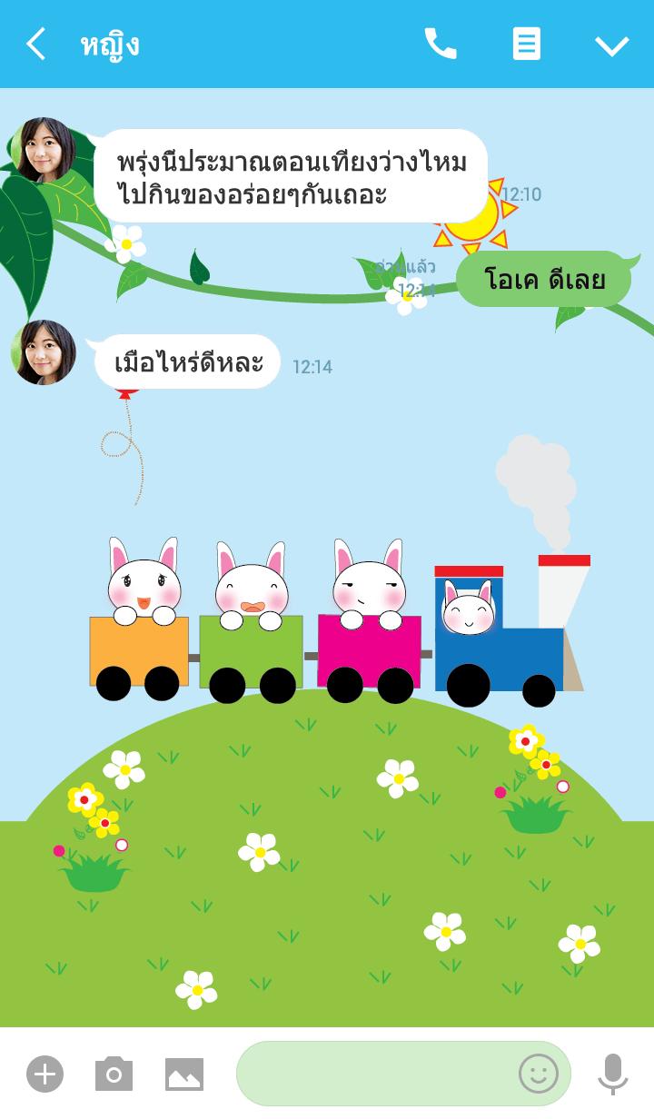 ธีมไลน์ Cute rabbit theme v.10