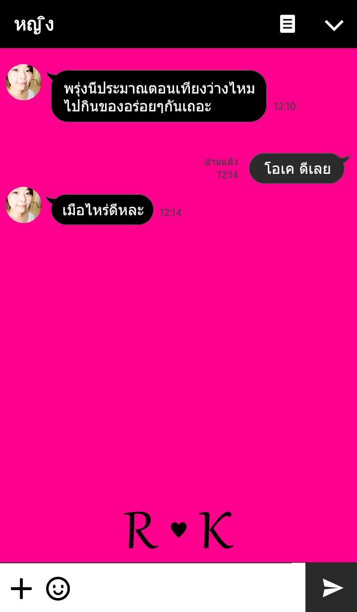 """ธีมไลน์ Initial """"R & K"""" Vivid pink & black."""