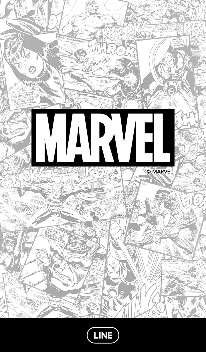 ธีมไลน์ Marvel Comics โมโนโครม