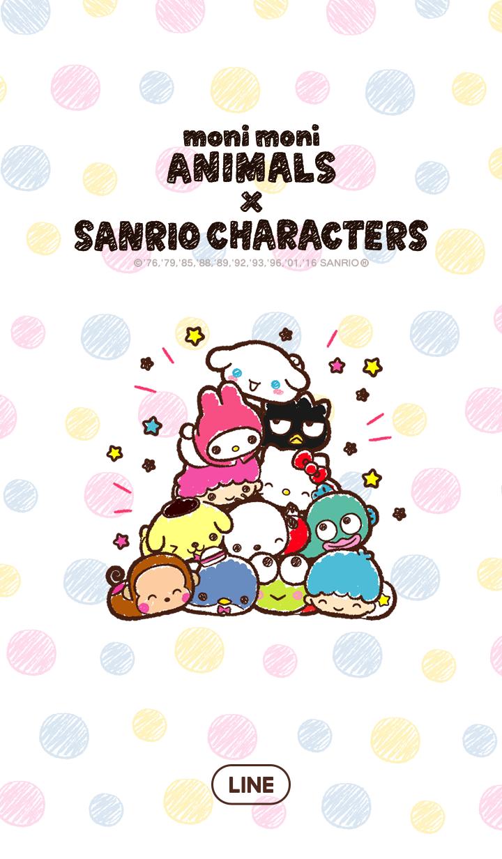 ธีมไลน์ SANRIO CHARACTERS × moni moni ANIMALS