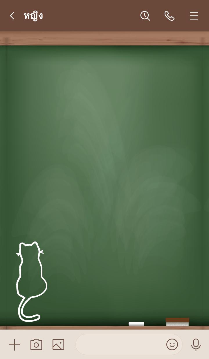 ธีมไลน์ I am a cat Black Board 6