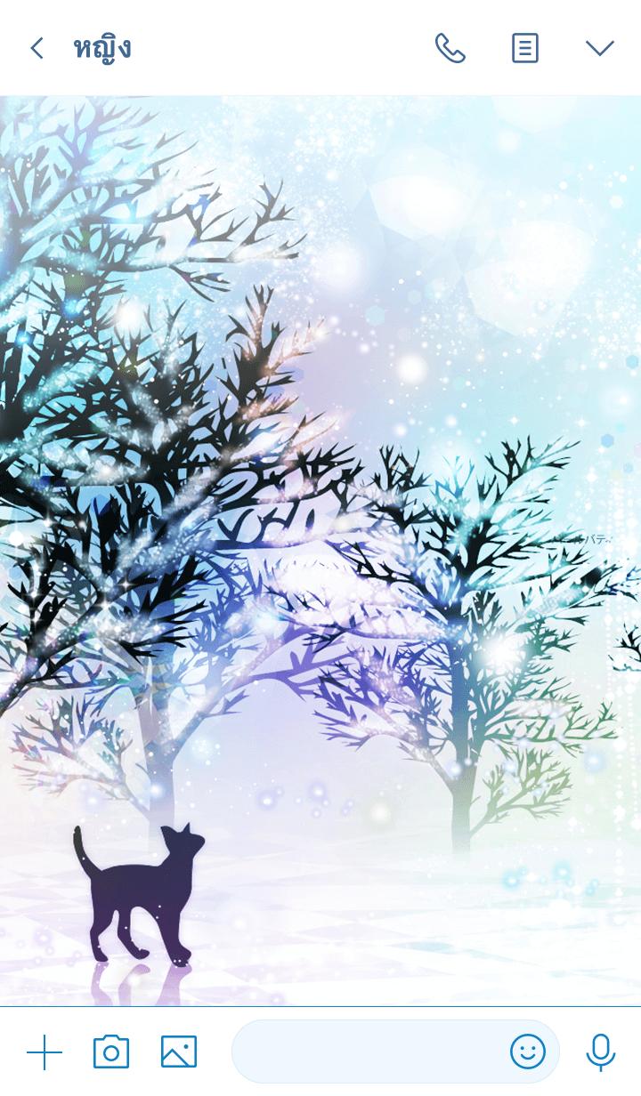 ธีมไลน์ Cat on a Snowy Day