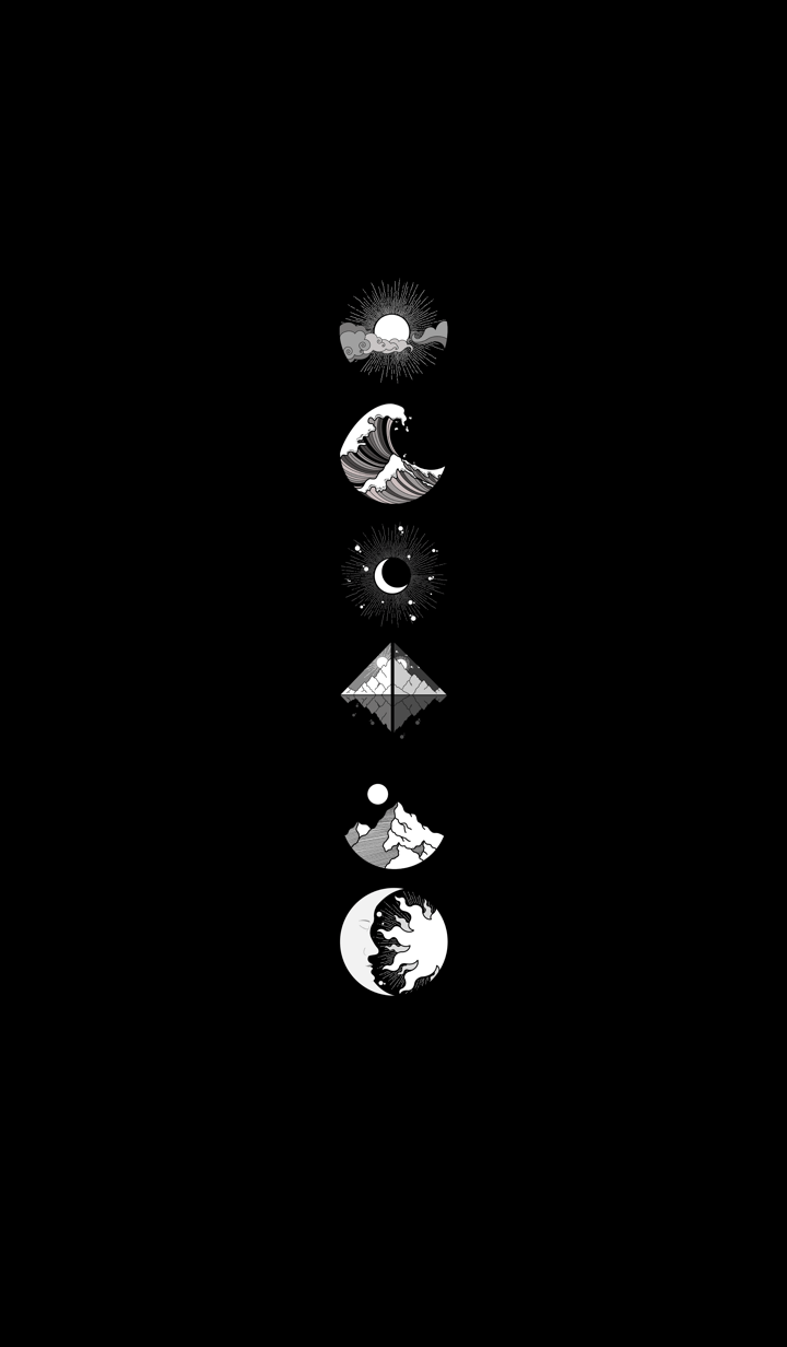 ธีมไลน์ จักรวาลสีขาวดำ