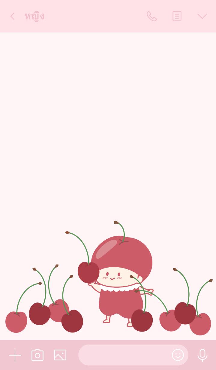ธีมไลน์ pure cherry girl theme