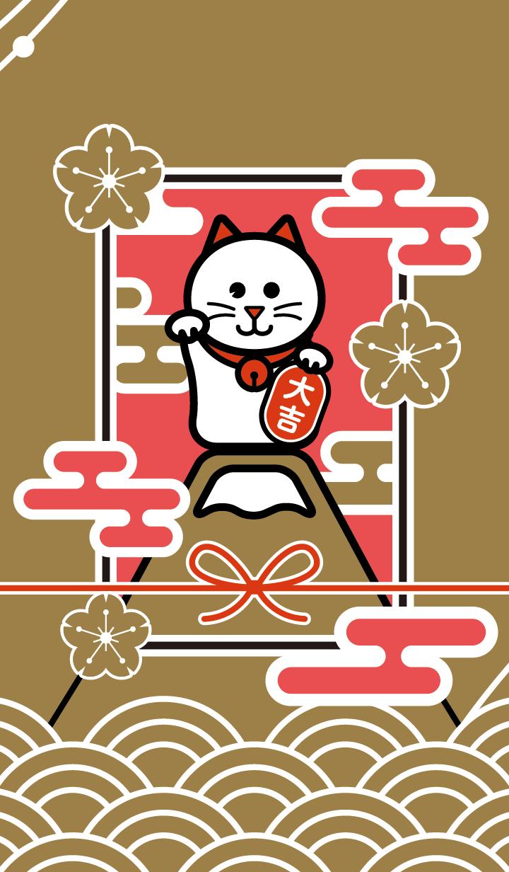ธีมไลน์ Maneki-neko / GOLD