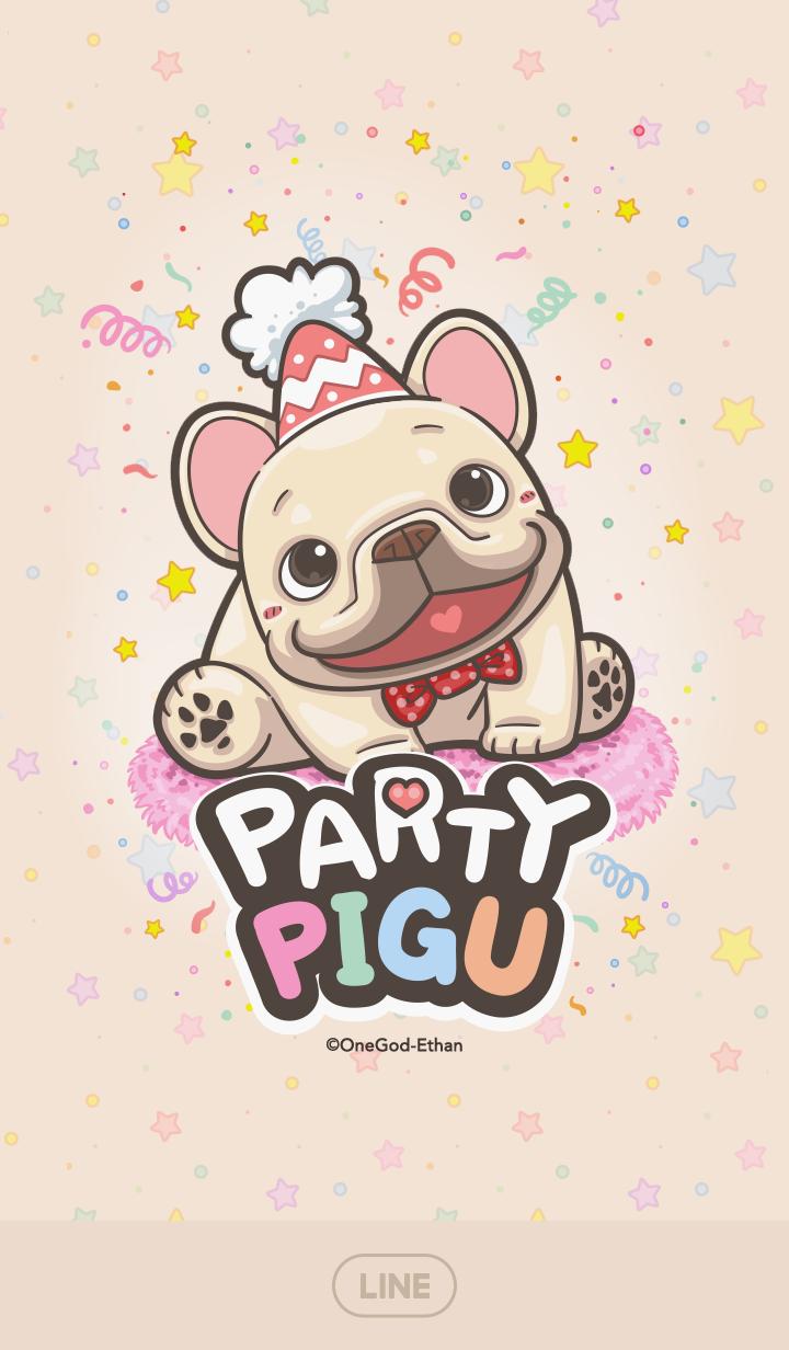 ธีมไลน์ French Bulldog PIGU-Happy Party