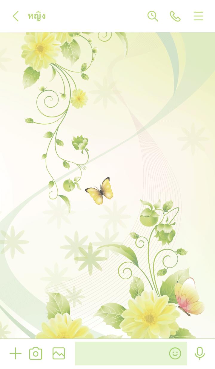 ธีมไลน์ Narumichi Butterflies & flowers