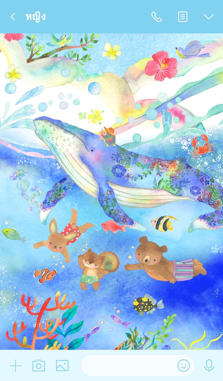 ธีมไลน์ Swimming with a whale
