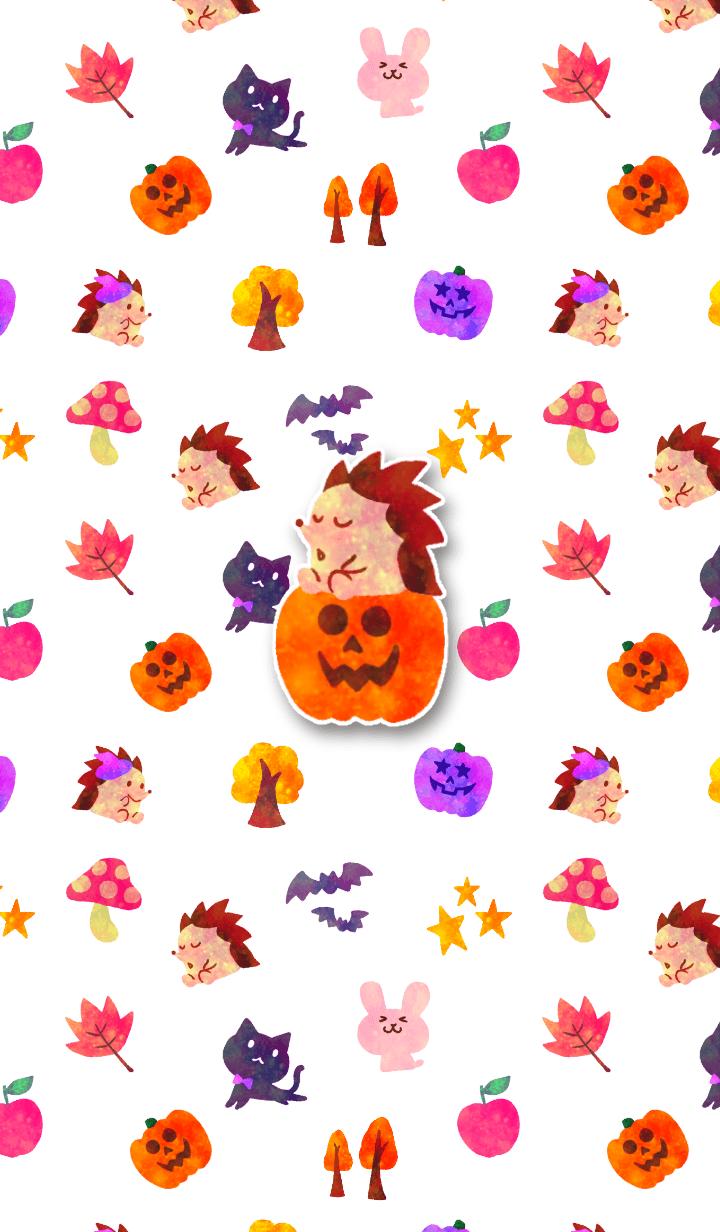 ธีมไลน์ Hedgehog halloween theme