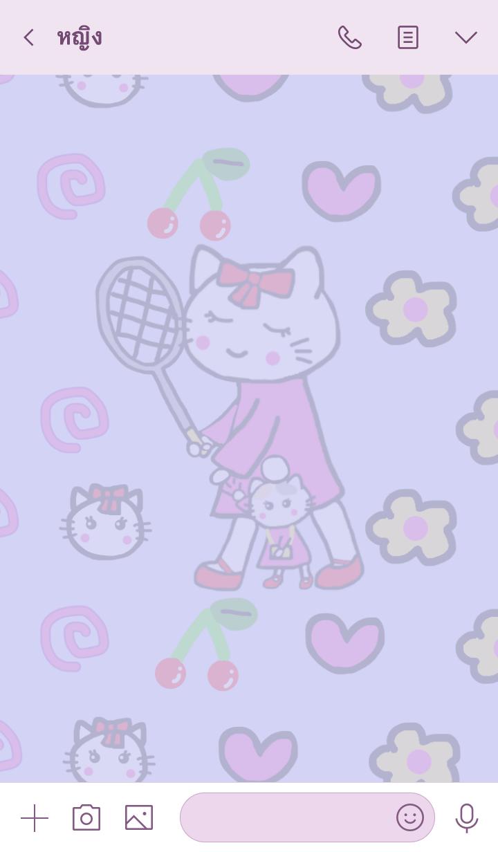 ธีมไลน์ White cat mommy.Soft tennis vr.Purple1