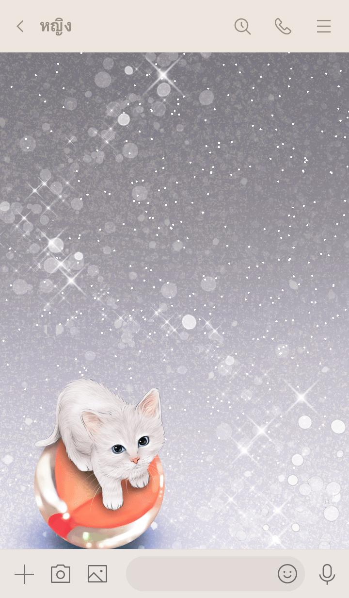 ธีมไลน์ Yasuhiro White cat and marbles