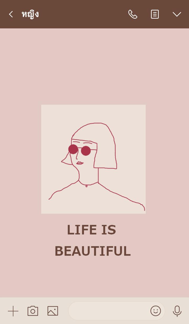 ธีมไลน์ LIFE IS BEAUTIFUL =burgundy=(JP)