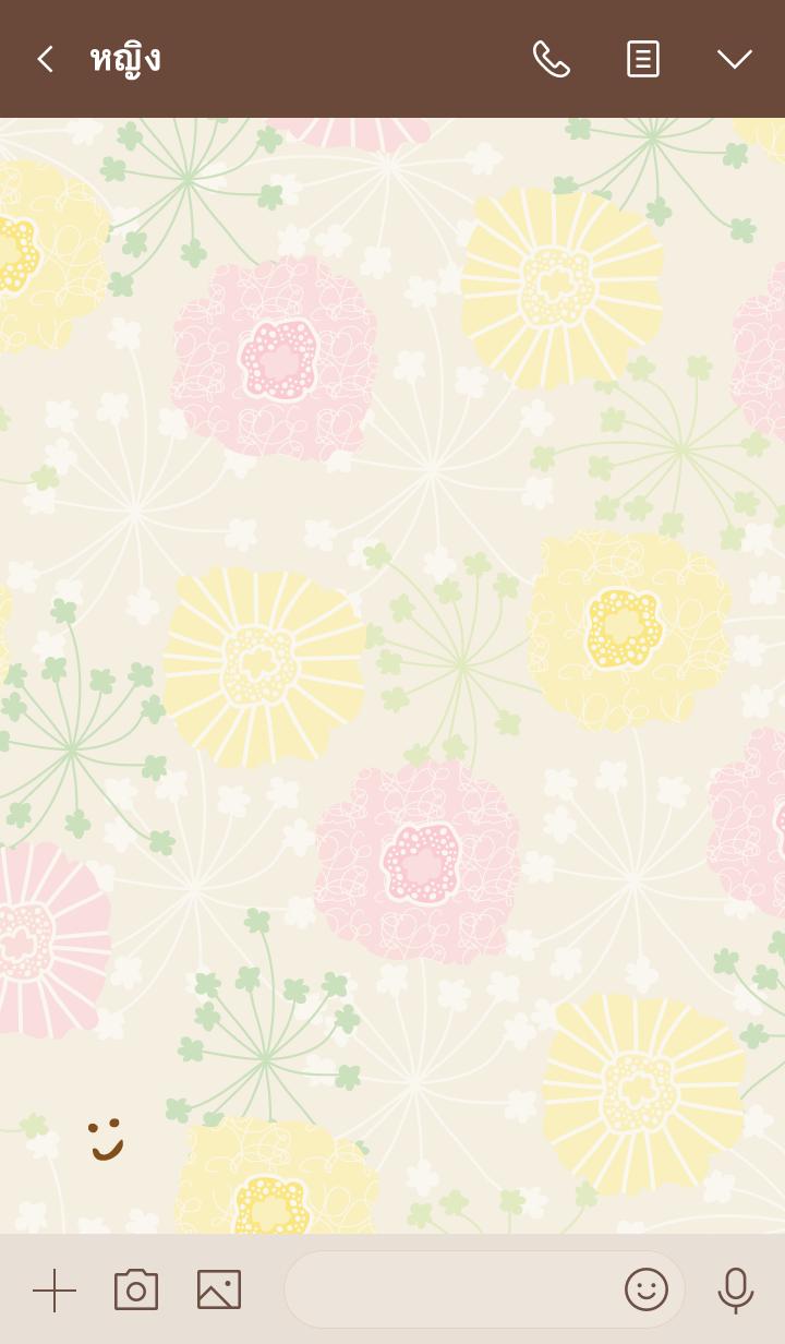ธีมไลน์ North European floral Beige smile4