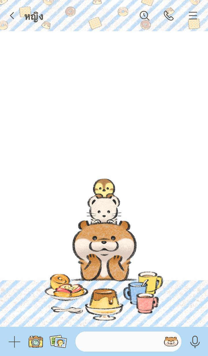ธีมไลน์ Cute Lie Otter ได้เวลากินขนม