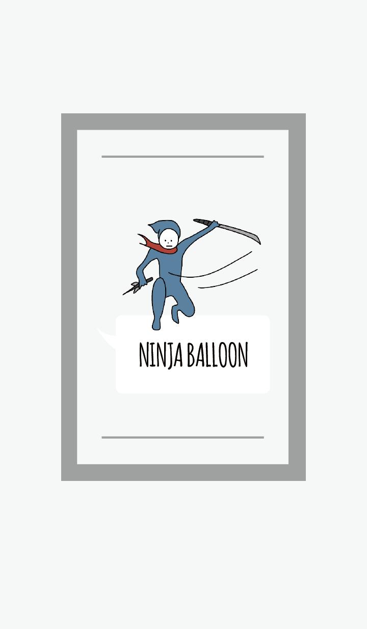 ธีมไลน์ สีเทา : NINJA BALLOON 02