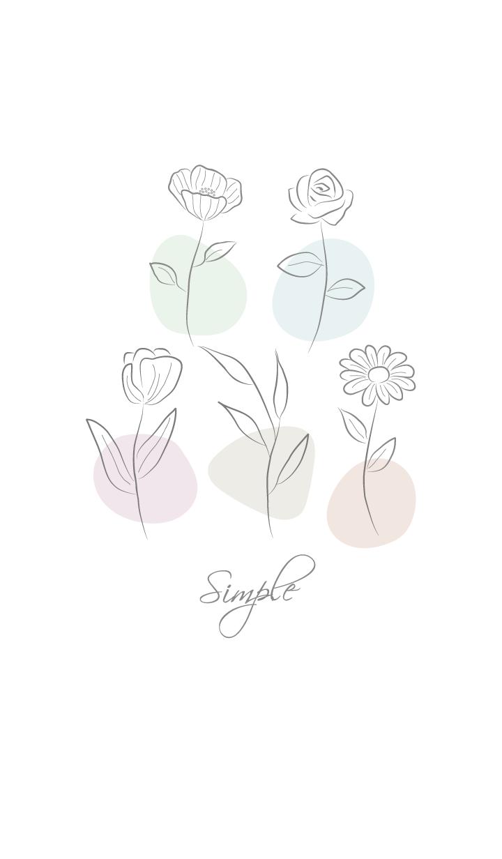 ธีมไลน์ Simple elegant flowers -White gray-