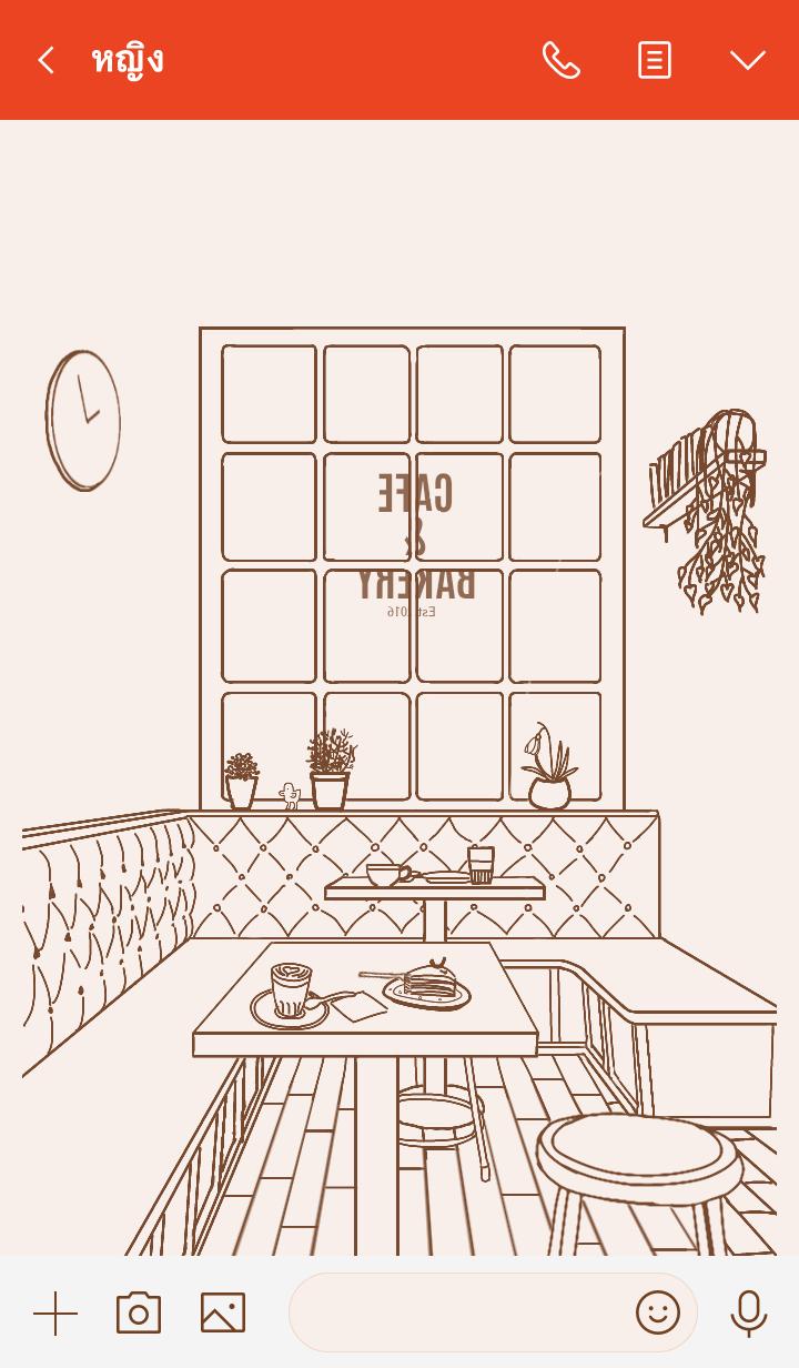 ธีมไลน์ aesthetic cafe pastel pink/brown