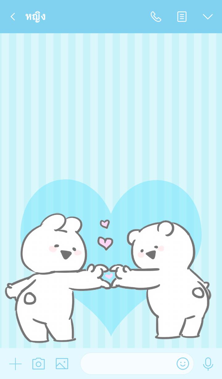 ธีมไลน์ Extremely little Rabbit & Bear-love blue