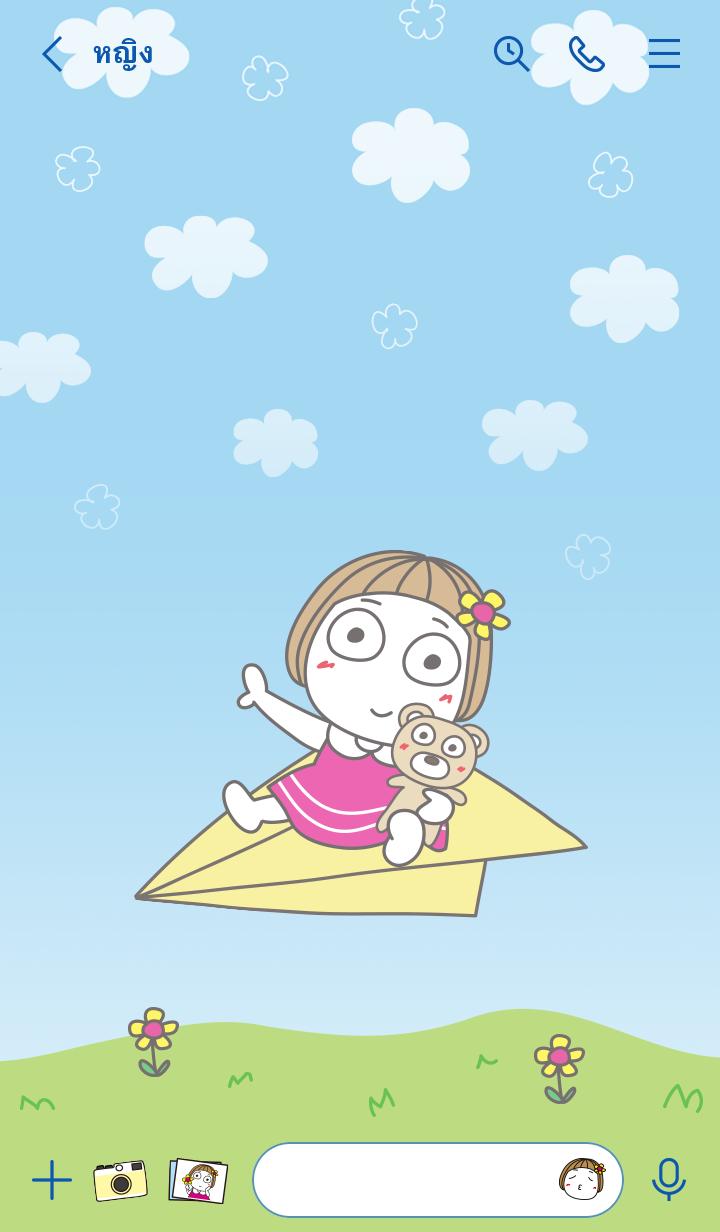ธีมไลน์ Hanako เครื่องบินกระดาษ