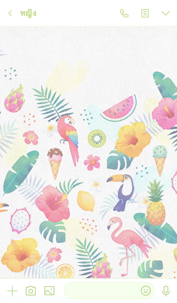 ธีมไลน์ Watercolor Tropical - DAY