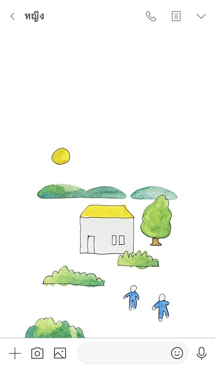 ธีมไลน์ Theme of the house. watercolor