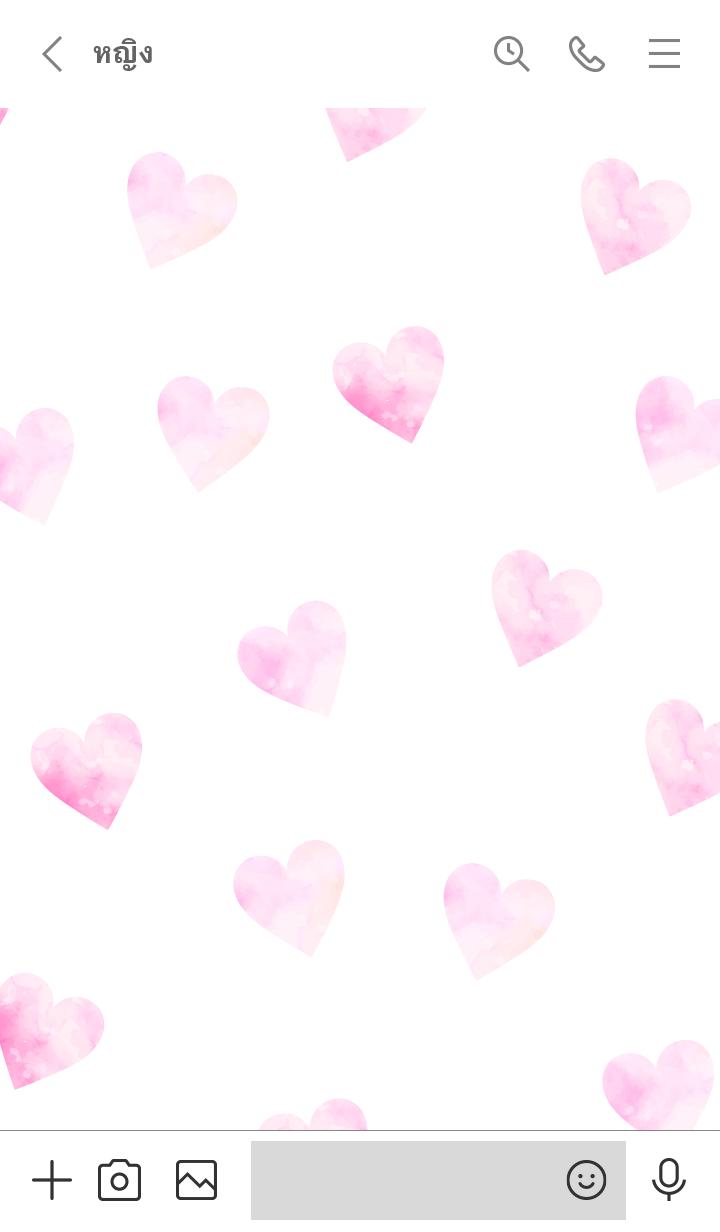 ธีมไลน์ Watercolor Heart-PINKWHITE 3