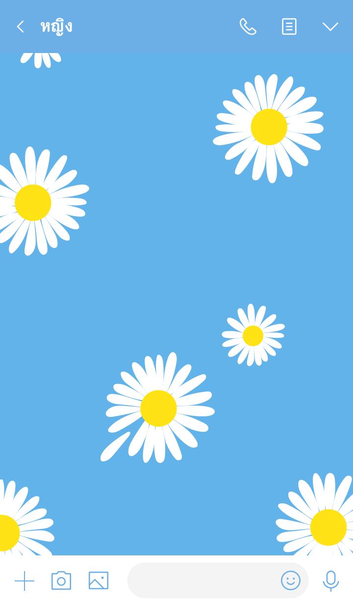 ธีมไลน์ Blue x Flower (ดอกเดซี่)