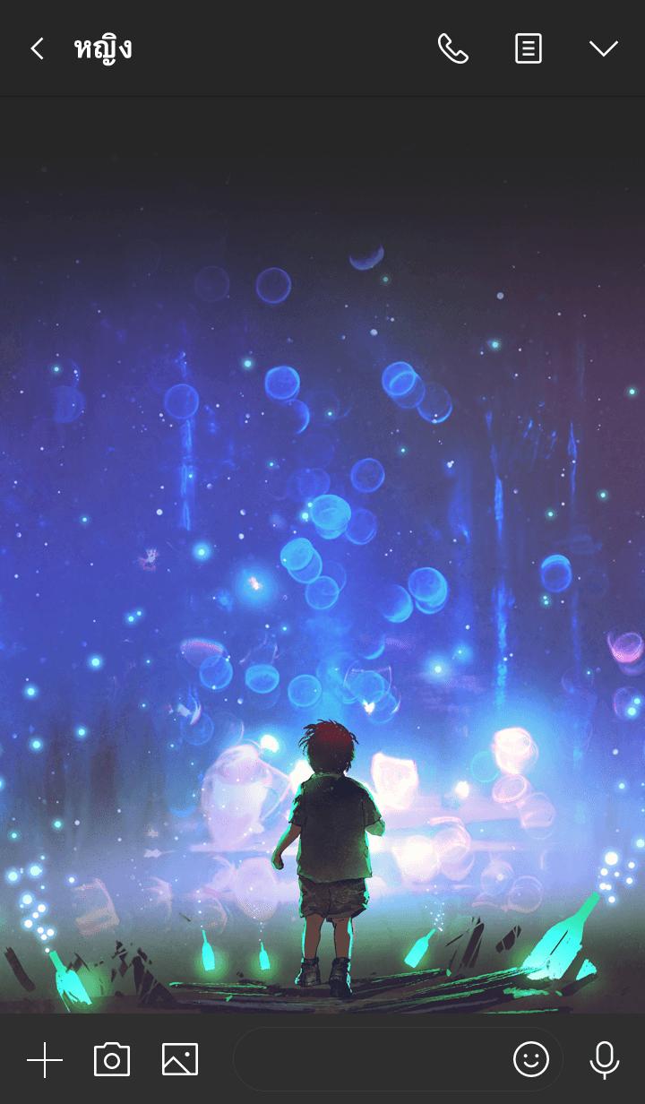ธีมไลน์ Shining bottle forest