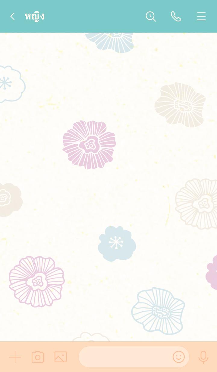 ธีมไลน์ A flower darkish Japanese paper6 Japan