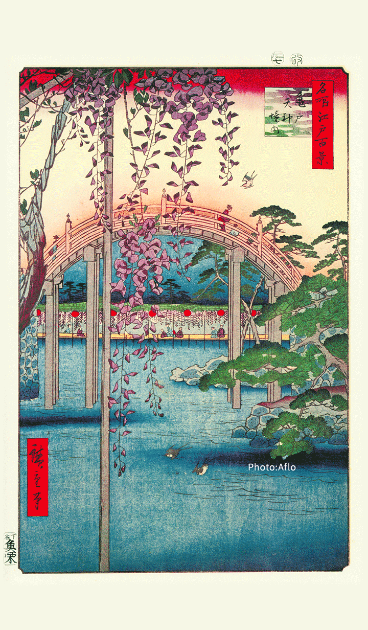 """ธีมไลน์ """"Precincts of the Tenjin Shrine,Kameido"""""""