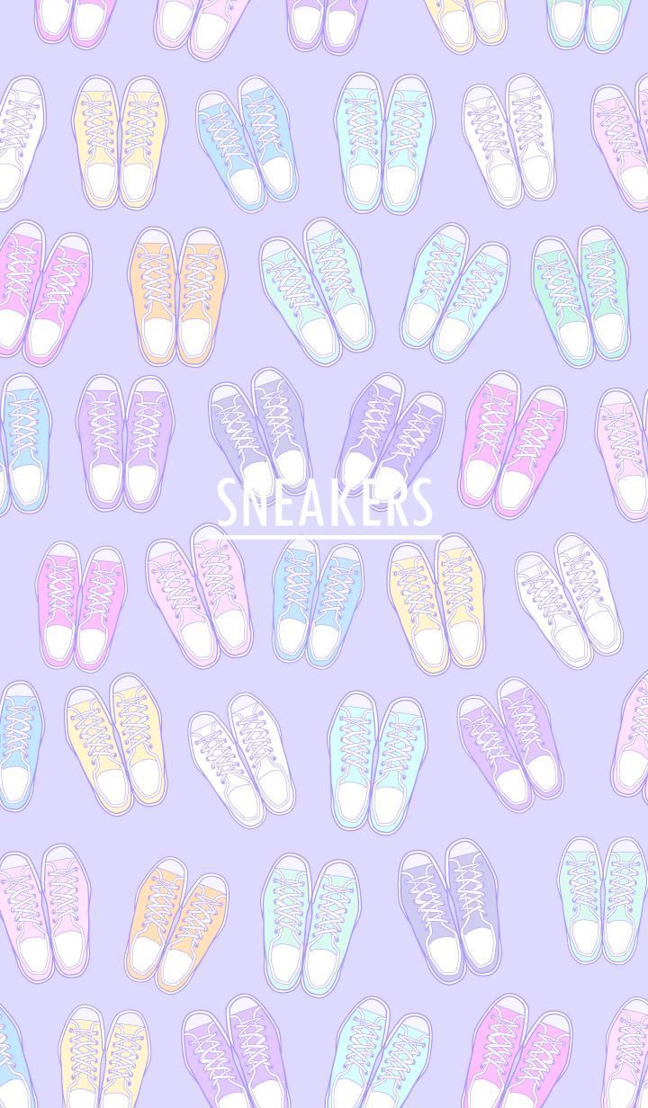 ธีมไลน์ รองเท้าผ้าใบเรนโบว์ / สีม่วง