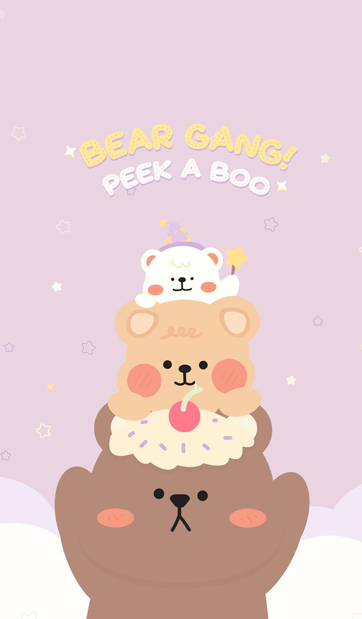 ธีมไลน์ Bear Gang! : Peek A Boo