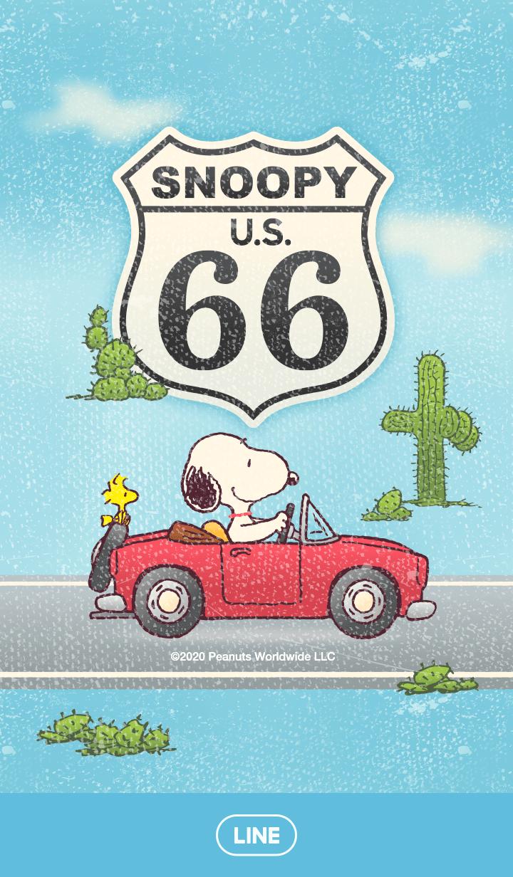 ธีมไลน์ ไปขับรถเล่นกับ Snoopy