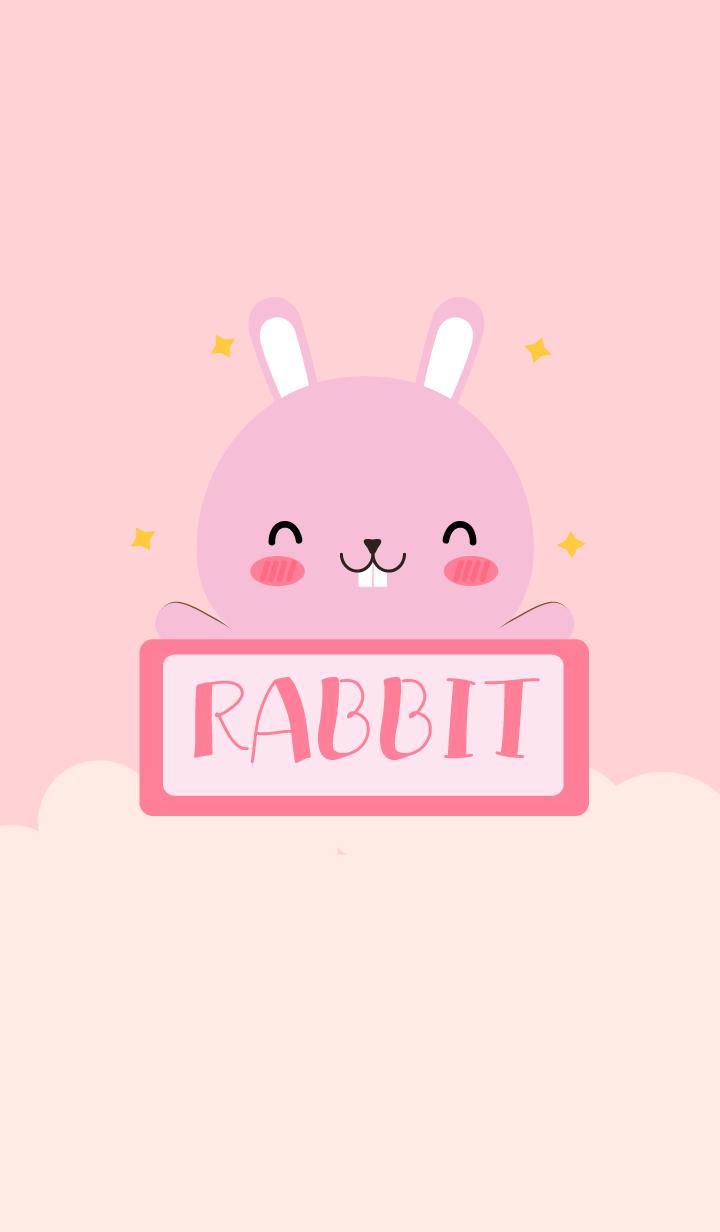 ธีมไลน์ ฉันคือกระต่ายชมพูเรียบง่าย