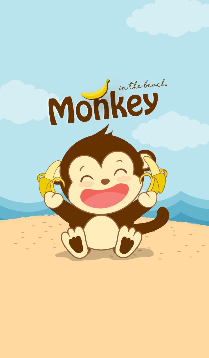 ธีมไลน์ ลิงน้อย บนชายหาด