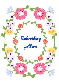 embroidery pattern -white-