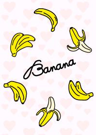 Banana - pink heart-
