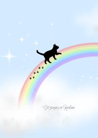 Cat praying on Rainbow