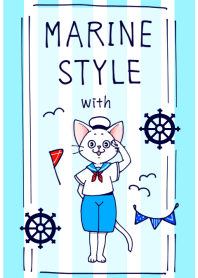 marine style with cat
