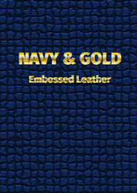 NAVY & GOLD Embossed Leather