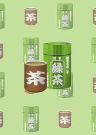 緑茶の茶筒と湯呑み茶碗